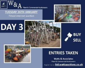 Day 3 Carlton SALE *Ending from 9.00am on Tuesday 26th January 2021* (Timed Auction) (Attachments, Builders & Petrol Driven Equipment) **NOW CLOSED FOR ENTRIES**