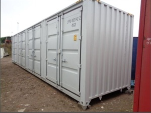 BASTONE 40' steel storage container with 4 side and 1 rear double doors (unused)