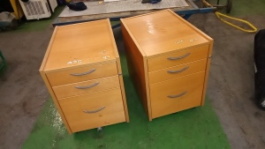 2 x Wooden 2 drawer cabinets