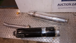 3 x D&D stainless steel motorbike exhaust silencers