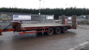 Herbst tri-axle low loader trailer complete with rear rams sprung drawbar, steel springs