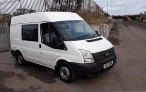 2013 FORD TRANSIT 125 mwb, 6 speed, factory fitted crew van, legal 6 seats (NV13 MKM) (MOT until 12th November 2021) (V5, manual & MOT in office)