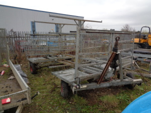 4- wheeled galvanised pipe carrier trailer