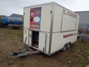 12 x 6 catering unit c/w electric hookup, propane gas, & rear/side opening.